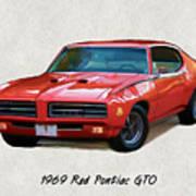 1969 Red Pontiac Gto The Judge Poster