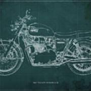 1969 Triumph Bonneville Blueprint Green Background Poster