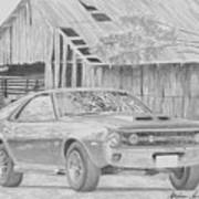 1970 Amx Javelin Muscle Car Art Print Poster