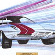 1972 Barracuda  Vintage Styling Design Concept Sketch Poster