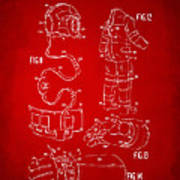 1973 Space Suit Elements Patent Artwork - Red Poster by Nikki Marie Smith