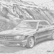 1984 Mercedes Benz 560 Sec Amg Classic Car Drawing Poster