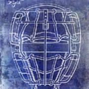 1887 Baseball Mask Patent Blue Poster