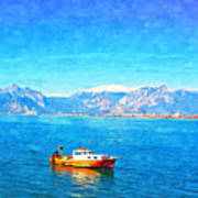 A Digitally Constructed Painting Of A Small Fishing Boat  With Snow Covered Mountains In Antalya Turkey Poster