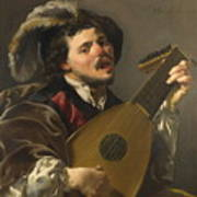 A Man Playing A Lute Poster