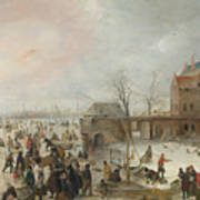 A Scene On The Ice Near A Town Poster