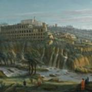 A View Of The Waterfalls And The Villa Of Maecenas Poster