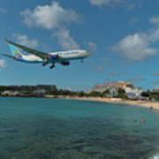 Air Caraibes Landing At St. Maarten Poster