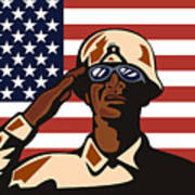 American Soldier Saluting Flag Poster