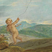 Angel Flying A Kite Poster