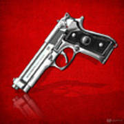 Beretta 92fs Inox Over Red Leather  Poster
