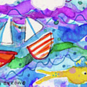 2 Boats And Yellow Fish Poster