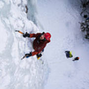 Brandon Prince Climbing Genesis I Area In Hyalite Canyon  Poster