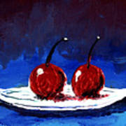 2 Cherries On A White Plate Poster