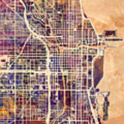 Chicago City Street Map 2 Poster
