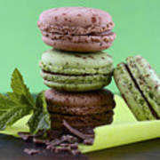 Chocolate And Mint Flavor Macaroons On Dark Wood Table Poster