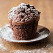 Chocolate Muffin With Powdered Sugar Poster