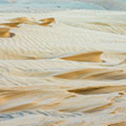 Close-up Of Beautiful Sunlit Ripple Surface Of Sand In Desert  Poster