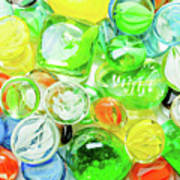 Colored Glass Beads On White Background Poster