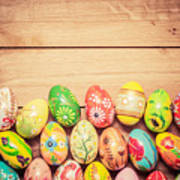 Colorful Hand Painted Easter Eggs On Wood Poster