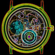 Coloured X-ray Of A 17-jewel Wrist-watch Poster
