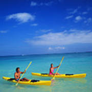 Couple Paddling Poster