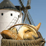 Different Breads And Windmill In The Background Poster