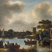 Dutch Landscape With Fishers Poster
