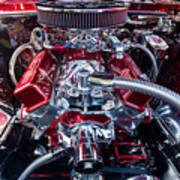 Engine Compartment Of Chromed Camaro Poster