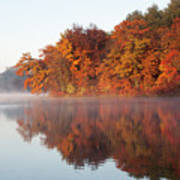 Fall Sunrise At Cox Hollow Lake In Governor Dodge State Park Poster