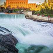 Falls And The Washington Water Power Building Along The Spokane  Poster