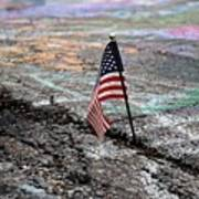 Flag In A Crack In The Pavement Poster