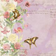 Fleurs De Pivoine - Watercolor W Butterflies In A French Vintage Wallpaper Style Poster