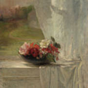 Flowers On A Window Ledge Poster