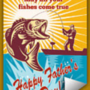 Fly Fisherman On Boat Catching Largemouth Bass Poster