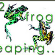 2 Frogs Leaping Poster