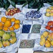 Fruit Displayed On A Stand Poster