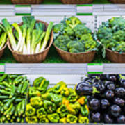 Fruits And Vegetables On A Supermarket Shelf Poster