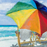 Beach Umbrella By Marilyn Nolan-johnson Poster