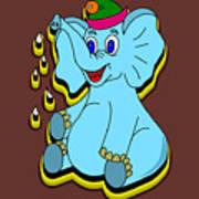 Happy Blue Elephant Poster