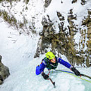 Ice Climbers On A Route Called Professor Falls Rated Wi4 In Banf Poster