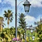 Lampost With Flowers In Nafplio Town Poster