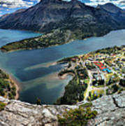 Looking Down On Waterton Lakes Poster