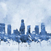 Los Angeles Skyline-blue Poster