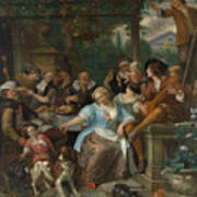 Merry Company On A Terrace Poster