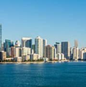 Miami Florida City Skyline Morning With Blue Sky Poster