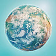 North Pole 3d Render Planet Earth Clouds Poster