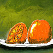 2 Oranges On A White Plate Poster