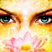Pair Of Beautiful Blue Women Eyes Beaming Up Enchanting From Behind A Blooming Rose Lotus Flower Poster