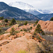 Pikes Peak From Red Rocks Canyon Poster